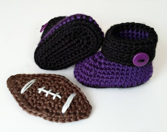 Baltimore Ravens Crochet Cuffed Baby Booties, Baltimore Ravens Baby Booties, Crochet Baby Shoes, Baby Shoes, Baby Shoes Boy, Baby Shoes Girl