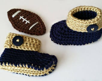 Los Angeles Rams Crochet Cuffed Baby Booties, Los Angeles Rams Baby Booties, Crochet Baby Shoes, Baby Shoes, Baby Shoes Boy, Baby Shoes Girl