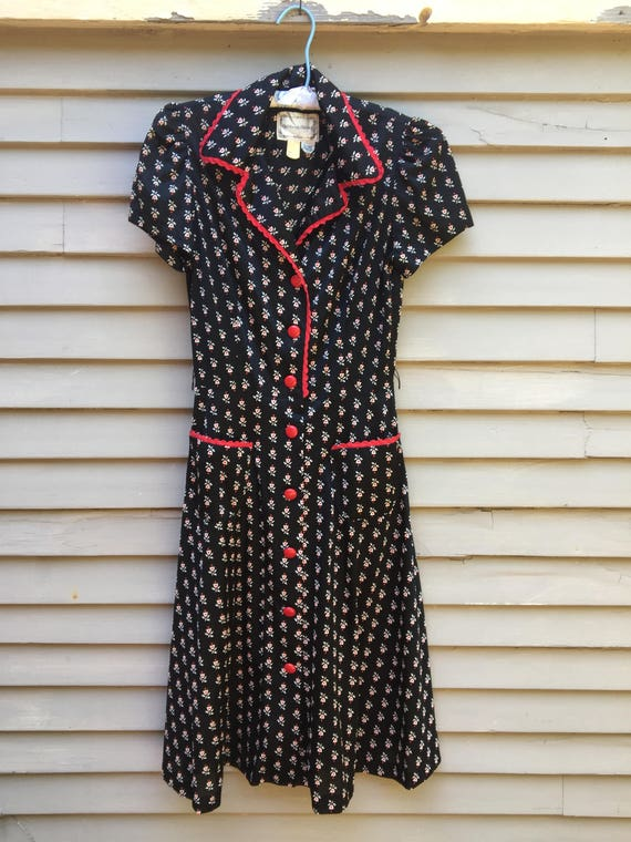 70s rare black and red floral dress Ossie Clark Bi