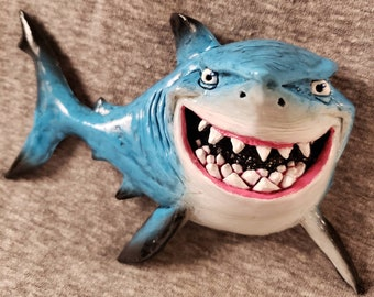 Bruce the shark from 'Finding Nemo' Sculpted Lapel Pin or Magnet - Hand Painted & Resin Cast