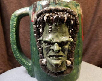 Frankenstein 16oz 3D Ceramic Coffee Mug with FREE Domestic Shipping - Pottery Horror Movie Sculpted Relief