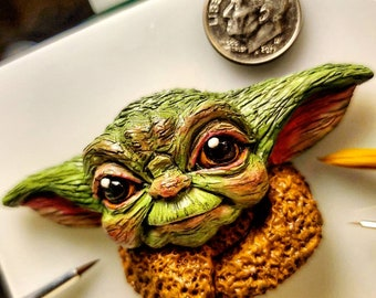 Baby Yoda or Grogu from 'The Mandalorian' Sculpted Lapel Pin or Magnet - Hand Painted & Resin Cast