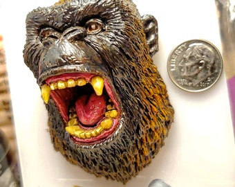 King Kong from 'Godzilla vs Kong' Sculpted Lapel Pin or Magnet - Hand Painted & Resin Cast