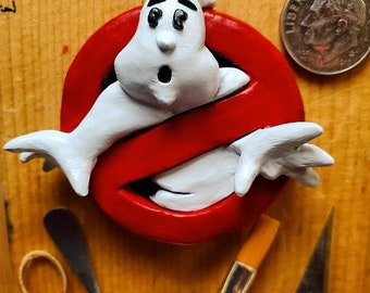 Ghostbusters Logo Sculpted Lapel Pin, Brooch, Pendant or Magnet - Hand Painted & Resin Cast
