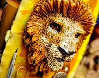 African Male Lion Sculpted Lapel Pin, Brooch, Pendant or Magnet - Hand Painted & Resin Cast