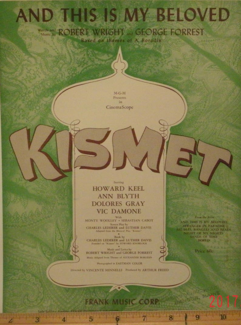 And This Is My Beloved, sheet music by Robert Wright, George Forrest,  musical/Movie Kismet, 1953, Based on themes of A  Borodin, Vintage