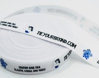 CUSTOM-  100 Yards - YOUR logo- your design- Elastic Fold-Over-Ribbon or Tied Hairties
