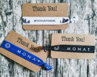 Monat Thank You cards with ties - your choice color- hairties/ hair ties