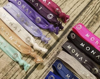 All Colors in Stock! Elastic Bands- Silver Printed Elastic Bands Hair Ties- Monat Inspired
