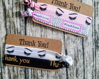 Lashes Thank You cards with 2 hair ties each- your choice color- Perfect for Red Aspen, younique, avon, mary kay, mascara, mink
