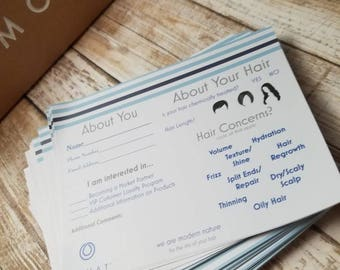 PRINTED - Mailed to you- Monat Event Questionnaire - Information form - hair type, style, partner request, etc