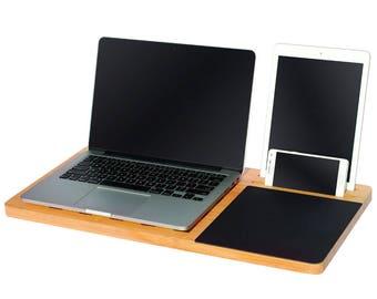 Bamboo Lap Desk   Portable Workstation For 11   15u201d Laptop By Legion  Woodcraft
