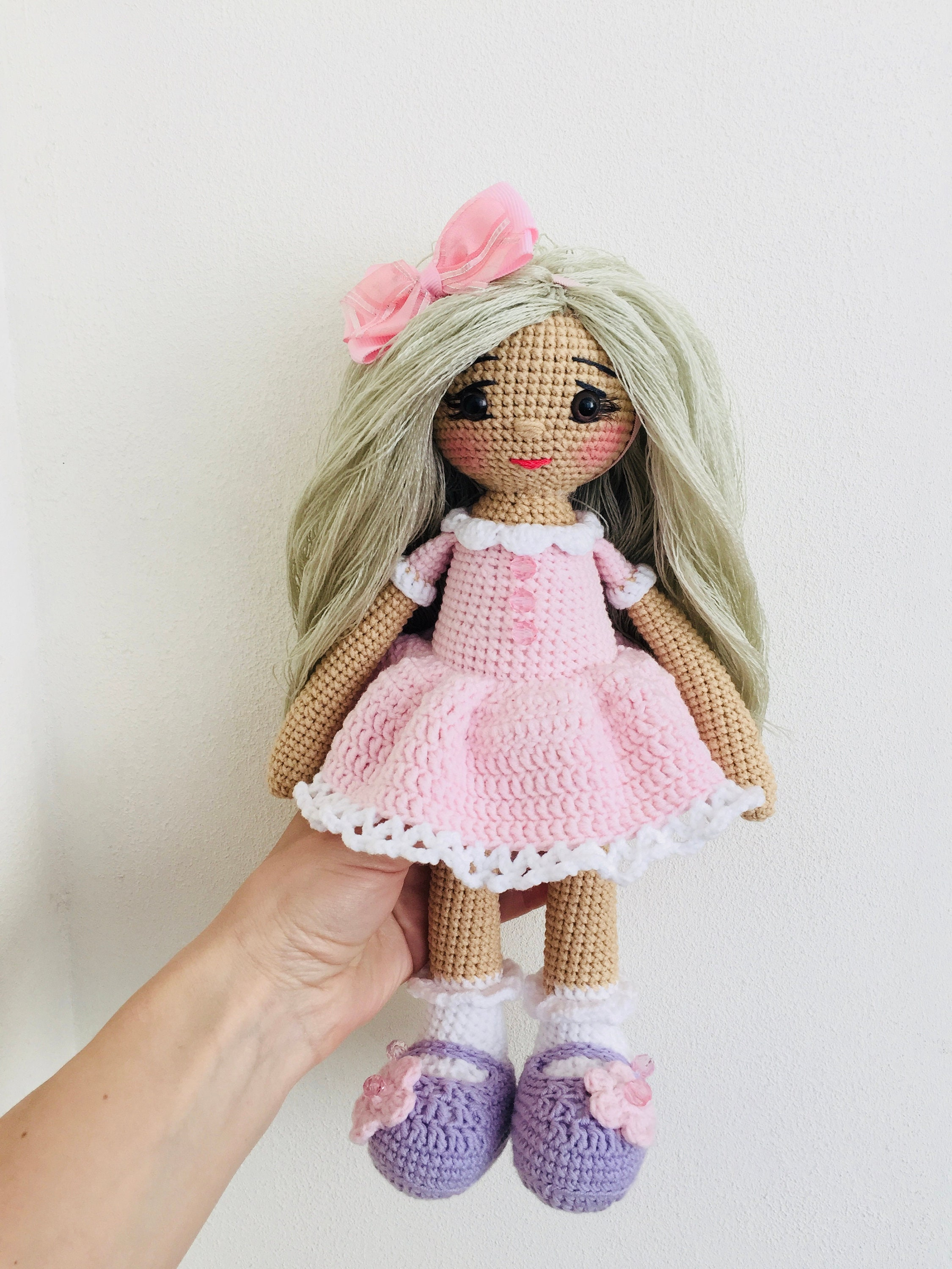 Crochet Doll In Pink Dress Knitted Doll Amigurumi Doll Crochet Etsy