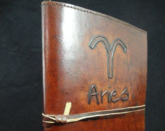 ZODIAC - Handmade Refillable Leather Journal Diary with Hand-Tooled Zodiac Sign