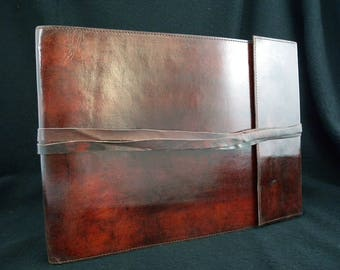 Large Handmade Leather Sketchbook or Guest Book with Pages of Handmade Cotton Paper