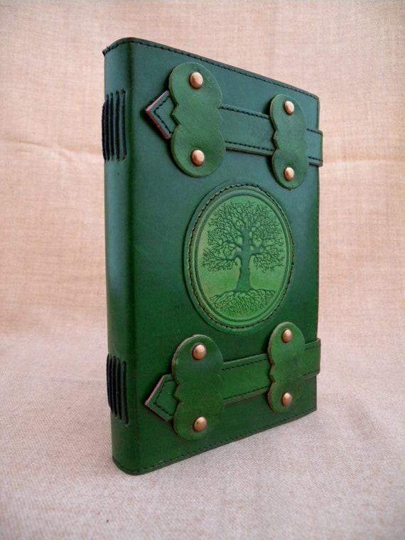 Fait main en cuir Grand Journal Journal - usiné usiné - druide arbre de chêne 41d7e5