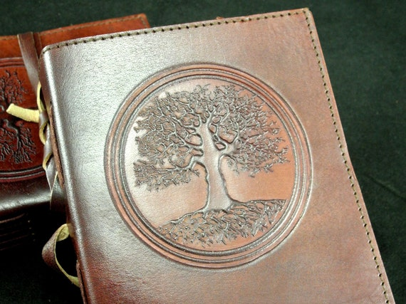 Druid Oak Hand-Tooled Leather A4 // US Letter Size Ring Binder Tree of Life