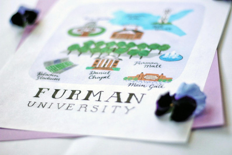 14f413e14d9ef Furman University Illustrated Campus Map Art Print