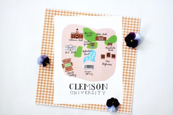 89bc7b4569fbe Illustrated Clemson University Campus Map Print
