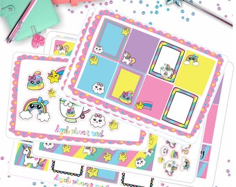 Rainbow Doodle Unicorn Stars Kit! 4 0r 6 Page Kit!
