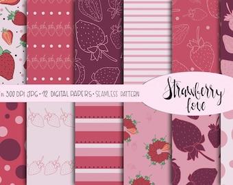 Strawberry digital paper, romantic printable paper, scrapbooking digital sheet, strawberry background, paper craft,  instant download