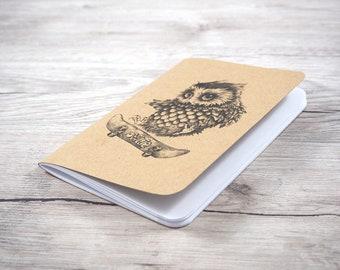 Owl notebook - Skateboard owl