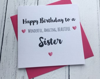 Happy Birthday To My Wonderful Amazing Beautiful Sister Card Greeting