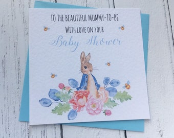 New Mum Vintage Bunny Blue Pink Yellow Personalised Baby Shower Card New Baby