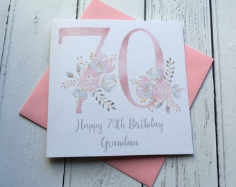 Beautiful Floral 70th Age Birthday Greeting Card 30 40 50 60 70 80 90 Mum Nan Friend Sister