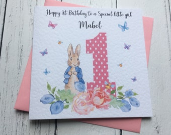 Personalised Cute Peter Rabbit And Butterflys 1st First Birthday Greeting Card Daughter Granddaughter Niece Cousin Goddaughter