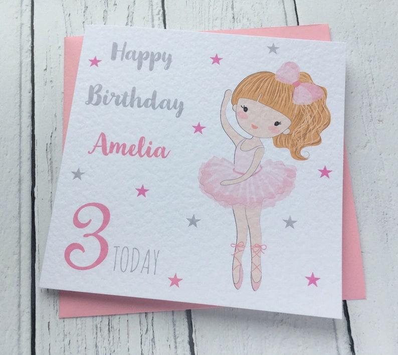 Personalised Ballerina Girls Birthday Card Greeting