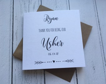 Personalised Simple Thank you for being our Usher card wedding day card