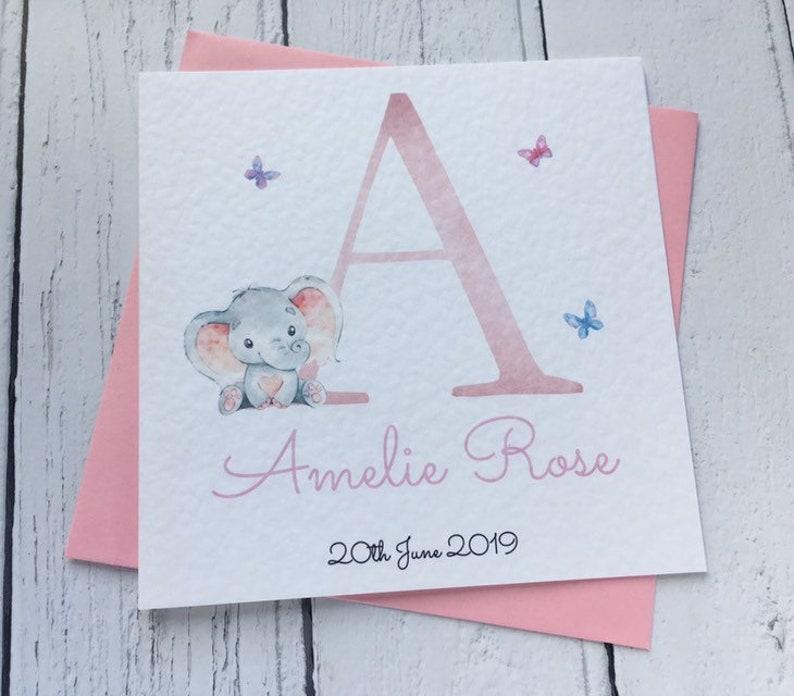 New Baby Girl Card Personalised Keepsake Birth Congratulations Pink Elephant