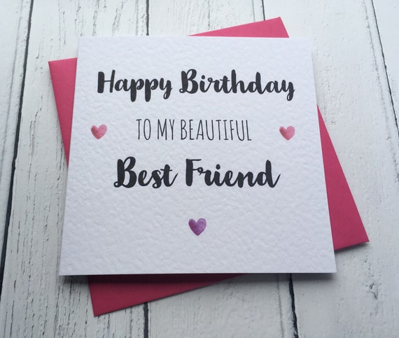 Happy Birthday To My Beautiful Best Friend Birthday Card Etsy