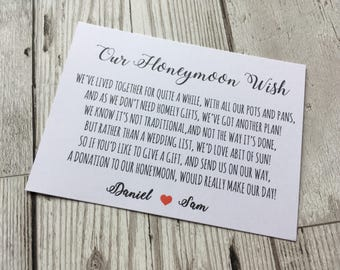 Personalised Wedding Honeymoon wish Money Poem Request Cards white A7 Red heart