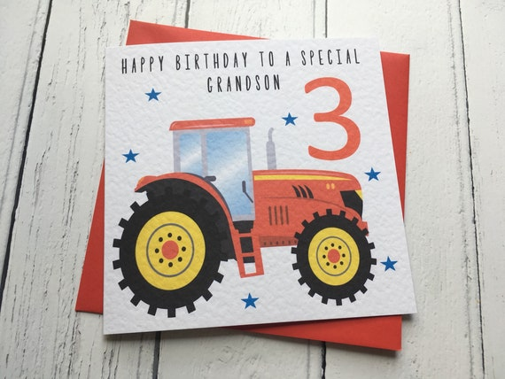 Personalised Red Tractor Birthday Greeting Card Grandson