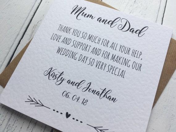 Beautiful Greenery Wreath Thank You Mum /& Dad Wedding Card Parents Step Parents