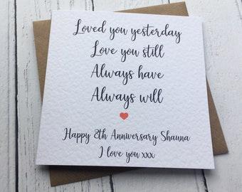 Personalised Couples Anniversary card, Husband, Wife, Boyfriend, Girlfriend, Partner, wedding anniversary, romantic