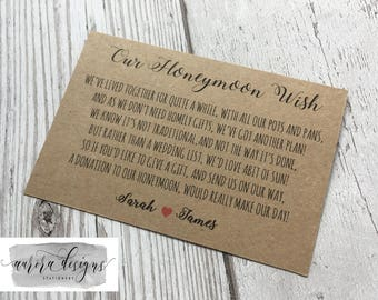Personalised Wedding Honeymoon wish Money Poem Request Cards Kraft A7