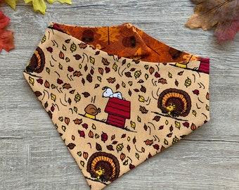 Season bandana pet bandana Harvest Dog Bandana tie on snaps on bandana pom pom bandana Prancing Turkeys On Brown Pet Scarf