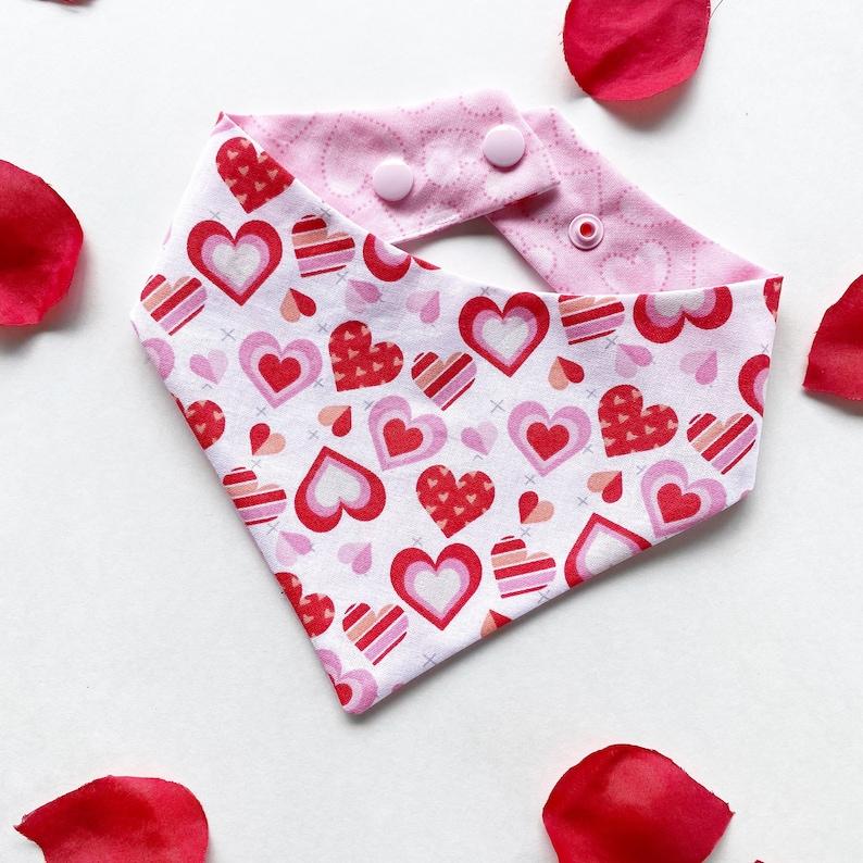 Size hearts and light pink hearts bandana for dogs easy snap-on dog bandana love Puppy bandana pet accessory Valentines dog bandana