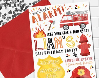 Firetruck Invitation, Firetruck Birthday Invitation, Firefighter Invitation, Firefighter Party, Printable Firetruck Theme, Fireman Birthday