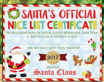 Santa Nice List Printable, Nice List Certificate, Christmas Printables, Letter to Santa, Naughty List Printable, Kids Christmas Wish List