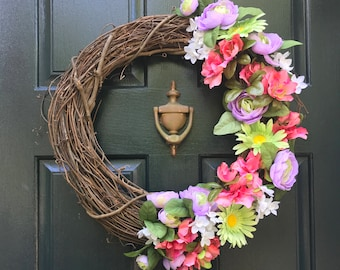 Purple, Green, and Pink Floral Grapevine Wreath, Spring Wreath, Summer Wreath, Door Wreath, Flowers