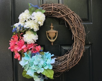 White, Pink, and Blue Floral Grapevine Wreath, Spring Wreath, Summer Wreath, Door Wreath, Flowers