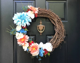 Blue, Salmon, Red, and White Floral Grapevine Wreath, Spring Wreath, Summer Wreath, Door Wreath, Flowers