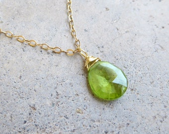 Peridot Necklace, August Birthstone, Genuine Peridot Necklace, Green Gemstone Jewelry, Small Teardrop Necklace, Tiny Peridot, 14k Gold Fill