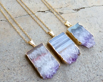 Amethyst Slice Necklace, Raw Amethyst Necklace Long, Genuine Amethyst Jewelry, Natural Stone Boho Necklace, February Birthstone Jewelry