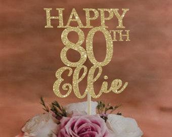 80th Birthday Cake Topper Any Age Happy Party Decor Custom