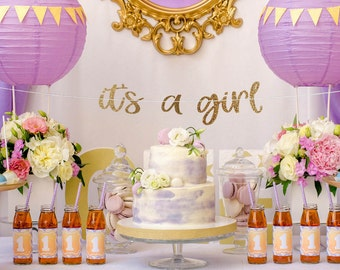 It's a girl banner, its a girl banner, baby shower banner, baby girl banner, girl baby shower decor, gold and pink baby shower decor